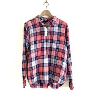 J.Crew Plaid Half Button Up Popover Shirt